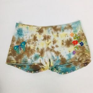 Lucky Brand Soft Knit Tie Dye Embroidered Shorts M